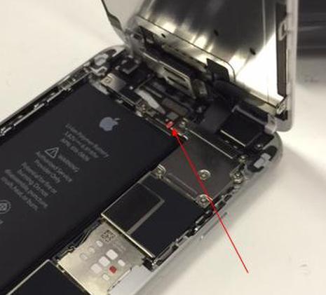 水没シールが真っ赤になったiPhone6
